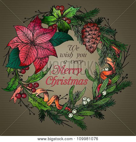 Merry Christmasr Greeting Card With Winter Plant Wreath