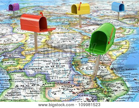 Mailboxes On The Map Peace, (mail Worldwide)