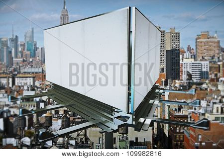 Blank White Billboards At City Background