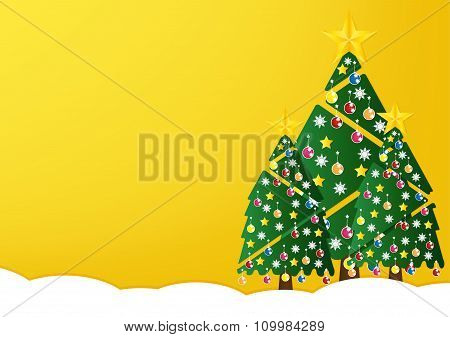 Christmas Tree With Colorful Ornaments And Glod Star On White Snow In Night Light Yellow Background.