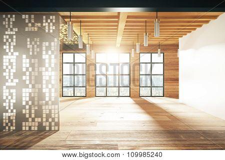 Empty Modern Room With Windows In Floor And Wooden Floor
