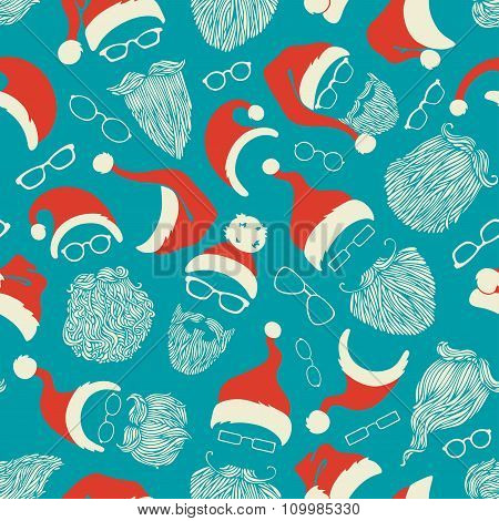 Seamless Pattern Of Santa Hats, Moustache, Beards And Eyeglasses.