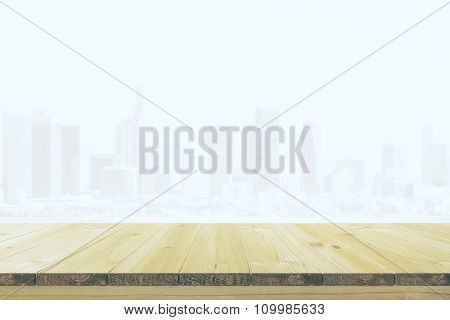 Table From Beige Wood At City Background