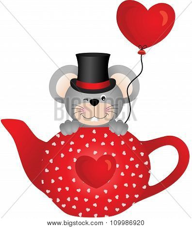 Mouse in red tea pot with heart balloon