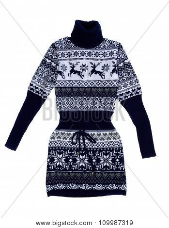 Female Knit Dress With A Pattern Of Deer