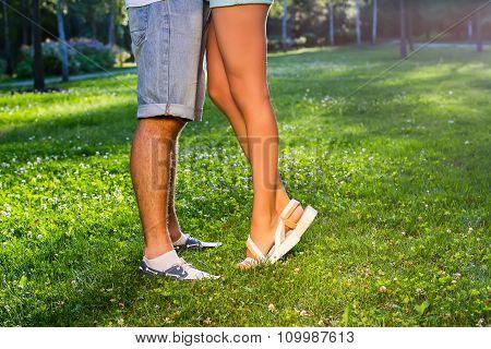 Lovers met in the park.