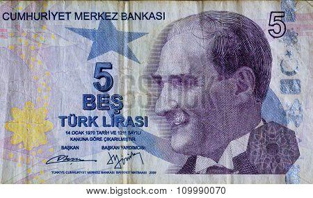 Portrait Of Mustafa Kemal Ataturk, Historical Leader Of Turkish Republic On Five Lira Banknotes.