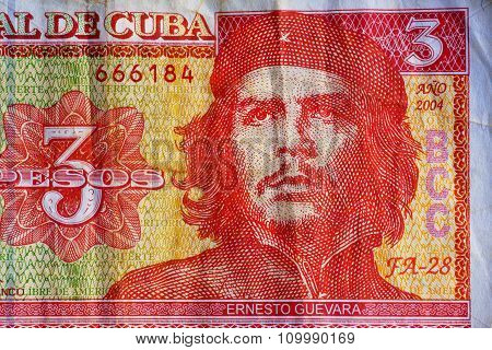 Portrait Of Ernesto Che Guevara, Historical Leader Of Cuba On Three Peso Banknotes.