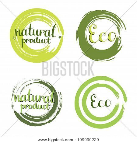 Eco Vector Set With Circle Frames, Design Elements. Label With Handwritten Natural Product.