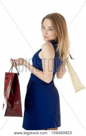 Shopping Happy Girl Whis Shopping Gift Bags, Against White Background.