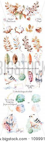 Winter collection with 18 hand painted watercolor elements+winter bouquets