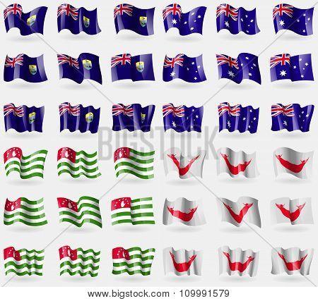 Saint Helena, Australia, Abkhazia, Easter Rapa Nui. Set Of 36 Flags Of The Countries Of The World.