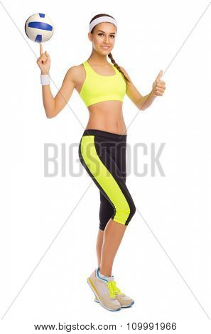 Sporty girl with ball isolated