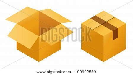 Icons of empty and  closed post cargo cardboard box isolated on white background