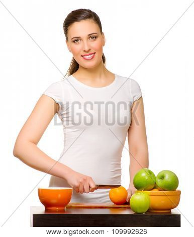 Young girl with fruits isolated