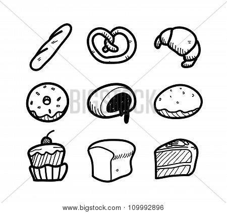 Bakery Icon Doodle Set