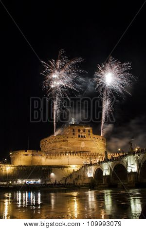 Fireworks Fired From Castel Sant' Angelo, Rome, Italy