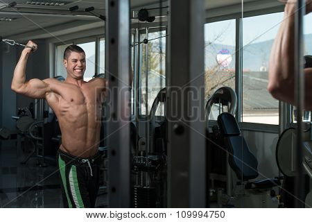 Biceps Exercising With Cable