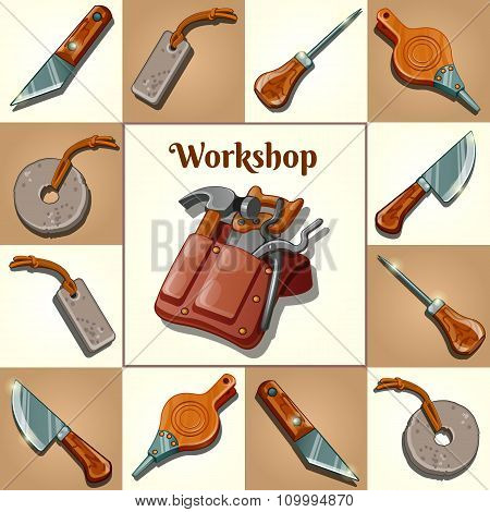 Set of tools, piercing and cutting instruments of the masters