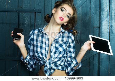 Fashionable Girl With Laptop And Phone