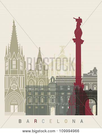 Barcelona Skyline Poster