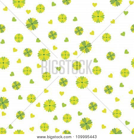 Seamless Pattern Of Small Green And Yellow Flowers And Hearts On A White Background