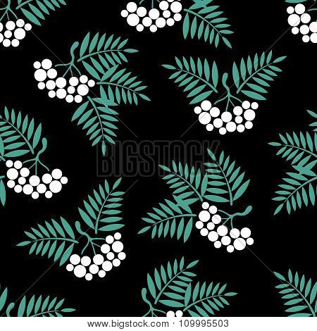 Seamless Background With Rowan Brush On A Black Background