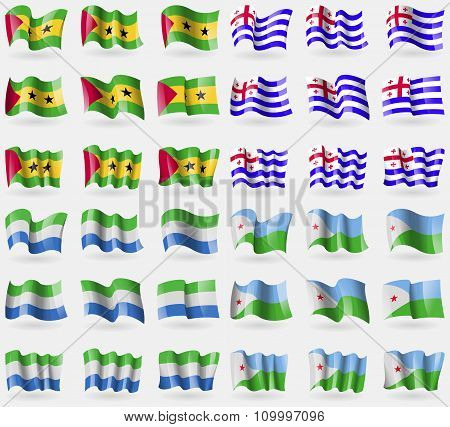 Sao Tome And Principe, Ajaria, Sierra Leone, Djibouti. Set Of 36 Flags Of The Countries Of The