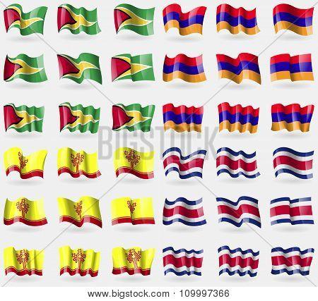 Guyana, Armenia, Chuvashia, Costa Rica. Set Of 36 Flags Of The Countries Of The World.