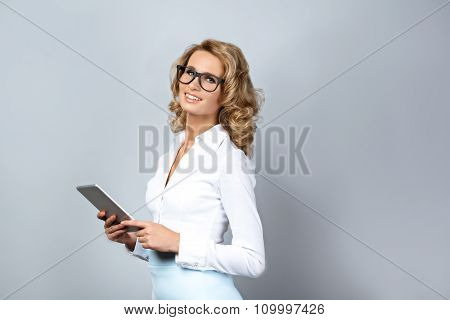 Business concept for emotional young woman