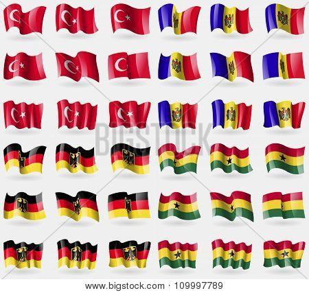 Turkey, Moldova, Germany, Ghana. Set Of 36 Flags Of The Countries Of The World.