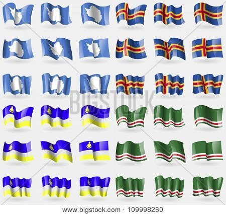 Antarctica, Aland, Buryatia, Chechen Republic Of Ichkeria. Set Of 36 Flags Of The Countries Of The