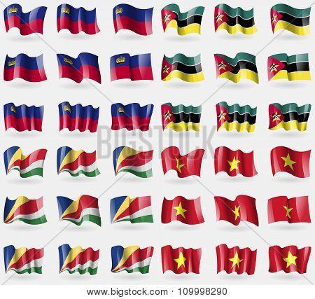 Liechtenstein, Mozambique, Seychelles, Vietnam. Set Of 36 Flags Of The Countries Of The World.