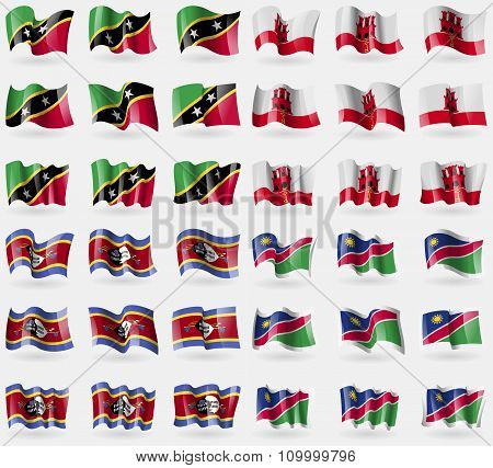 Saint Kitts And Nevis, Gibraltar, Swaziland, Namibia. Set Of 36 Flags Of The Countries Of The