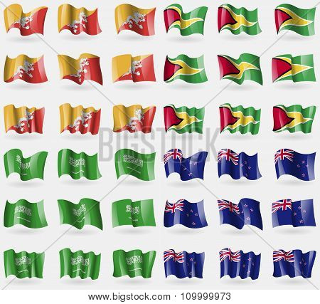 Bhutan, Guyana, Saudi Arabia, New Zeland. Set Of 36 Flags Of The Countries Of The World.