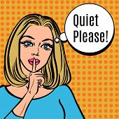 Постер, плакат: Girl Says Quiet Please Vector Retro Woman With Silence Sign Pop Art Comics Style Illustration