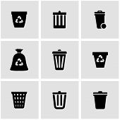 Постер, плакат: Vector black trash can icon set