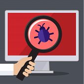 Постер, плакат: Concept of searching bugs and viruses