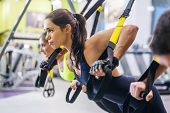 Women doing push ups training arms with trx fitness straps in the gym Concept workout healthy lifest poster