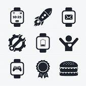 Постер, плакат: Smart watch icons Wrist digital time clock