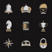 Постер, плакат: Set Of Vector Design Elements For Logotypes Vintage Styled Design Hipster Elements Bell Crown Ba