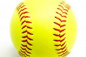 yellow ball for softball match poster