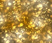 picture of gold glitter  - Gold bokeh from stars rounds and hexagonals - JPG