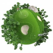 stock photo of miniature golf  - miniature golf planet concept with nice grass course club house and trees - JPG