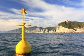Yellow Buoy On Sea, Portovenere, La Spezia, Italy