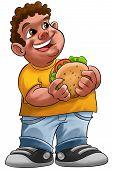 pic of fat lip  - fat boy smiling and ready to eat a big hamburger - JPG