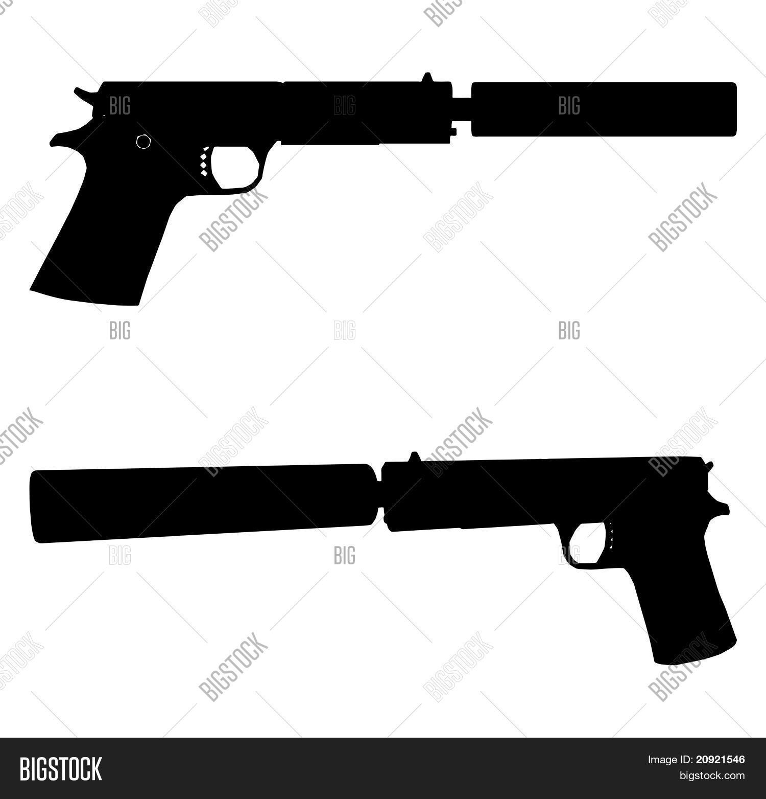 pistol with silencer vector 0 stock vector amp stock