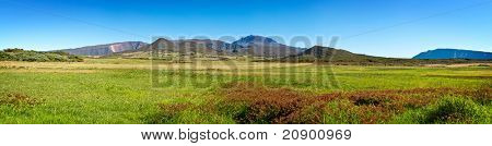 Panoramic view of Plaine des Cafres plateau with Piton des Neiges massif in background, Reunion Island