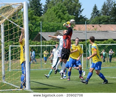 KAPOSVAR, HUNGARY - JUNE 11: David Aladics (goalkeeper) in action at the Hungarian National Championship under 13 game between Kaposvari Rakoczi FC and Bajai LSE June 11, 2011 in Kaposvar, Hungary.