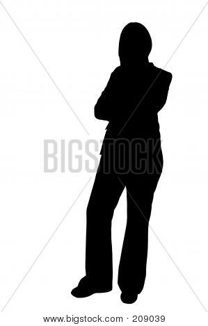 Business Woman Standing Silhouette Illustration
